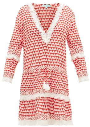 Melissa Odabash Claudia Fringed Printed Dress - Womens - Red White