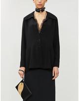 Maison Margiela Lace-insert crepe shirt