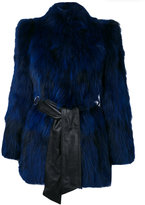Just Cavalli oversized coat - women - Leather/Polyester/Racoon Fur - 40