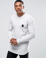Religion Long Sleeve T-Shirt With Raw Curved Hem Detail