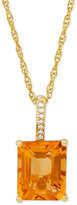 Macy's Citrine (2-1/2 ct. t.w.) & Diamond Accent Pendant Necklace in 14k Gold