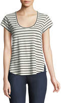 Theory Navigate Easy Striped Scoop-Neck Tee