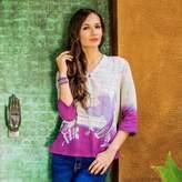 Handcrafted Batik on Cotton Tunic Thailand, 'Purple Songbird'