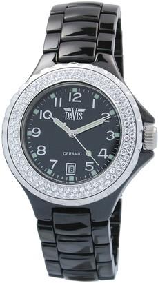 Davis Elegance Ceramic Quartz Watch Waterproof with Chronograph White Ceramic Bracelet and Case Rhinestone Surrounded Dial