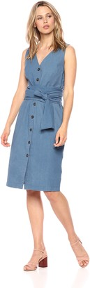 J.o.a. Women's Sleeveless V Neck Button Down MIDI Dress