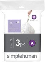 Simplehuman 60 Pack Custom-Fit Trash Can Liner-Code K
