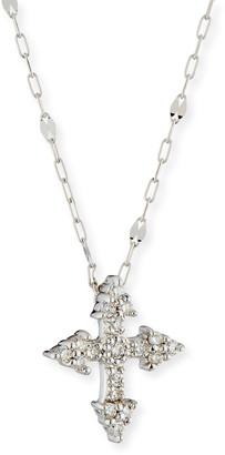 Jude Frances Provence 18k White Gold Diamond Tiny Cross Pendant Necklace
