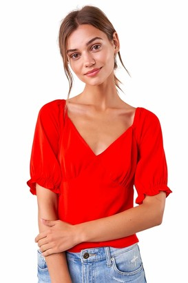 Sugar Lips Sugarlips Women's Sweetheart Neckline Puff Sleeve Blouse