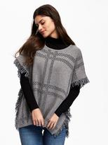 Old Navy Plaid Fringe Poncho for Women