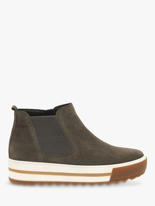 Gabor Vessell Wide Fit Suede Flatform Ankle Boots, Grey