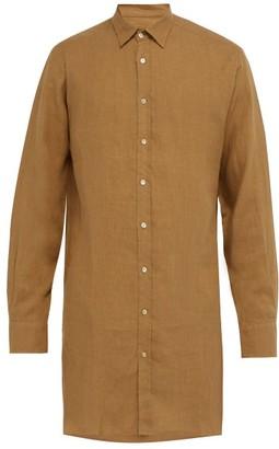 Arjé Arje - The Tobias Longline Linen Shirt - Brown