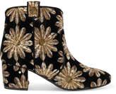 Laurence Dacade Belen Sequin-embellished Embroidered Velvet Ankle Boots - Black