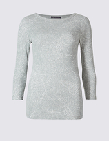 M&S Collection Pure Cotton Printed 3/4 Sleeve T-Shirt