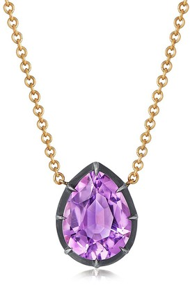Fred Leighton 18kt yellow gold and oxidised sterling silver Signed amethyst Collet set solitaire pendant necklace