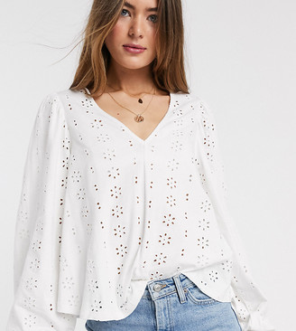 Asos Tall ASOS DESIGN Tall swing top with v neck in contrast broidery with puff sleeve