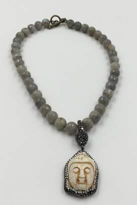 Private Label Sapphire Sky Labradorite-Beads Crystal-Buddha Necklace