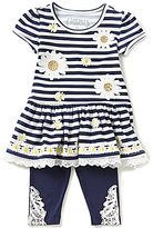 Flapdoodles Little Girls 2T-6X Daisy Striped Ruffled Dress & Solid Leggings Set