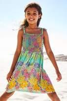Next Girls Green Floral Smocked Dress (3-16yrs) - Green