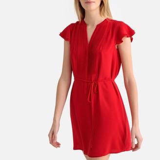 Molly Bracken Short Ruffled Shirt Dress with Pleats