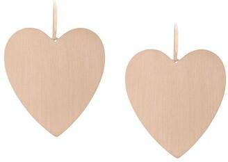 Irene Neuwirth 18kt rose gold large flat heart earrings
