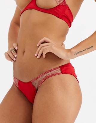 Coco de Mer Reign by Aubrey sheer rose cut-out knickers in red