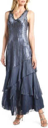 Komarov Tiered Charmeuse & Chiffon Sleeveless Maxi Dress