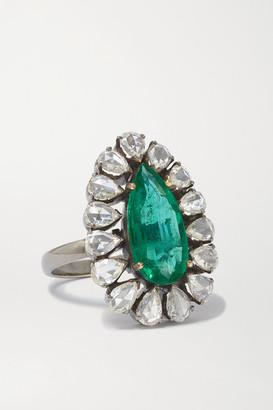 Amrapali 18-karat Blackened Gold, Emerald And Diamond Ring - Silver
