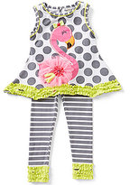 Rare Editions Baby Girls 12-24 Months Flamingo-Appliqued Dotted Tunic & Striped Leggings Set