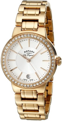 Rotary Women's Quartz White Dial Analogue Display and Rose Gold Plated Stainless Steel Bracelet LB90085/02L