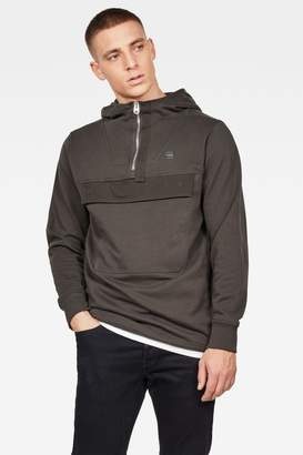 G Star Mens G-Star Khaki Anorak Half Zip Hooded Sweater - Green