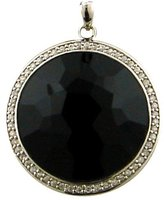 Sterling Silver 27mm Round Black Onyx And White Topaz Pendant Including 18
