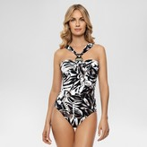Dreamsuit by Miracle Brands Women's Slimming Control Palm Print Halter One Piece Swimsuit Black - Dreamsuit