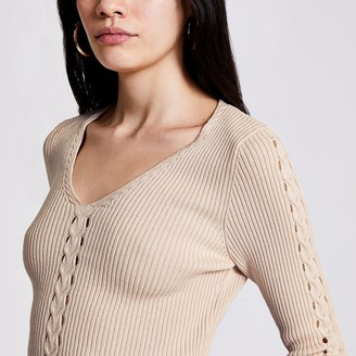 River Island Cream cable knit V neck jumper