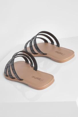 boohoo Wide Fit Triple Strap Croc Mule