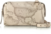 Alviero Martini Small Geo Safari Coated Canvas Crossbody Bag w/Cream Leather Details
