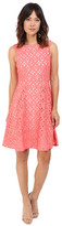 Adrianna Papell Extended Shoulder Fit & Flare Laser Cut Scuba Dress