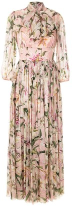 Dolce & Gabbana Lily-Print Pussy Bow Maxi Dress