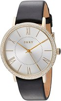 DKNY Women's 'Willoughby' Quartz Stainless Steel and Leather Casual Watch, Color:Black (Model: NY2544)