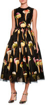 Dolce & Gabbana Gelato-Print Sleeveless Midi Dress, Black/Pattern