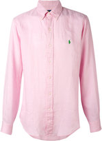 Ralph Lauren long sleeve logo shirt - men - Linen/Flax - S