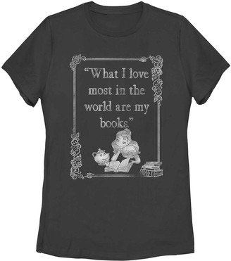 Licensed Character Juniors' Disney's Beauty And The Beast Belle Book Lover Tee