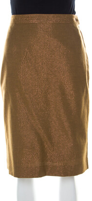 See by Chloe Brown Wool Blend Metallic Gold Pinstriped Pencil Skirt M