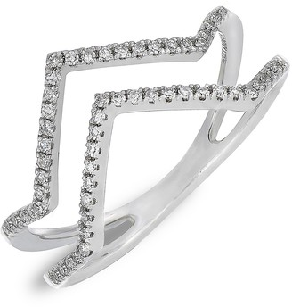 Carriere Sterling Silver Pave Diamond Zigzag Double Band Ring - 0.17 ctw