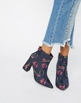 Daisy Street Floral Heeled Ankle Boots