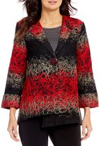 Multiples All Over Embroidery One-Button Front Jacket