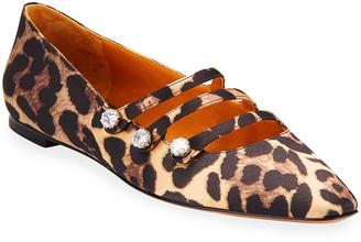 Veronica Beard Nola Strappy Leopard-Print Ballet Flats