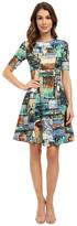 Karen Kane Collage Print Scuba Dress