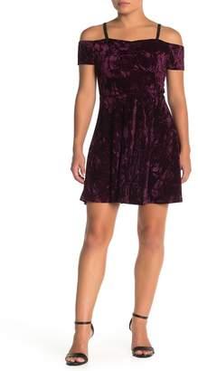 Angie Crushed Velvet Cold Shoulder Dress