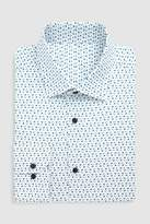 Mens Next White/Blue Slim Fit Single Cuff Floral Printed Signature Shirt
