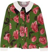 Gucci Floral-print Silk Crepe De Chine Blouse